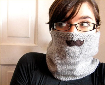 knitted mustache cowl