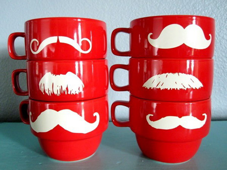 stacking mustache mugs