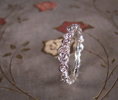 carved rose ring in sterling silver