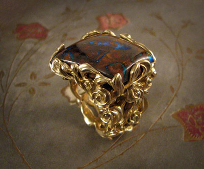 carved rosebush ring, boulder opal in 18K gold