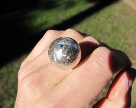 sterling silver and sapphire bauble ring
