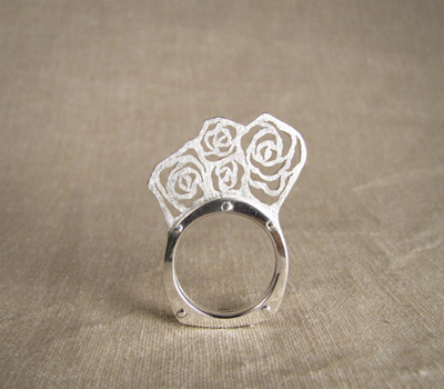 Riveted rose ring - sterling silver