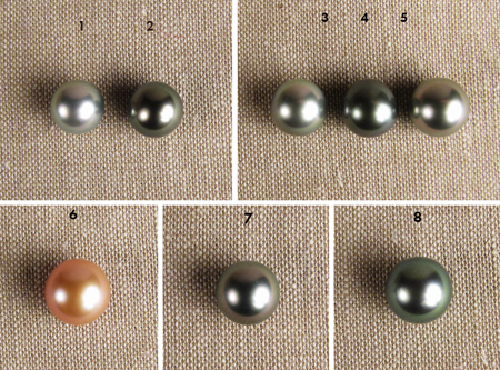 Tahitian pearls and peachy Chinese freshwater pearl