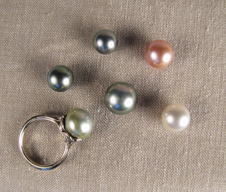 Tahitian, South Sea, and Chinese Pearls; 18K white gold ring with Tahitian pearl