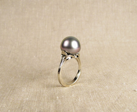 18K white gold and Tahitian pearl ring by Cheyenne Weil