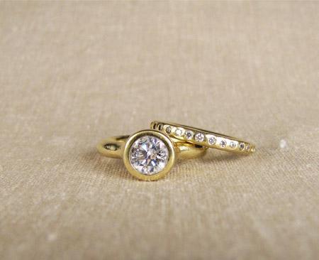 18K gold and diamond wedding set