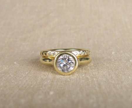 18K gold and diamond wedding set