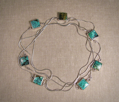 Square Chinese turquoise and silver long wrap necklace