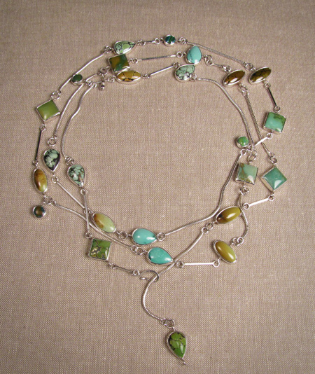 Chinese turquoise and silver long wrap necklace