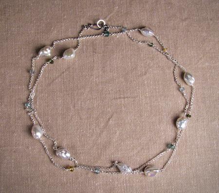 Tourmaline, aquamarine, and freshwater chinese keshi pearl necklace
