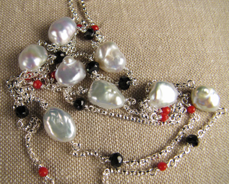 Black spinel, coral, and freshwater chinese keshi pearl necklace