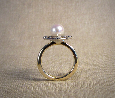 Two-tone 14K, diamond, Japanese Akoya pearl, art deco inspired ring