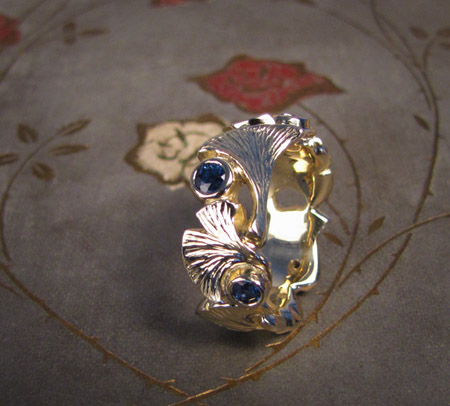 14K carved ginkgo leaf and sapphire eternity band