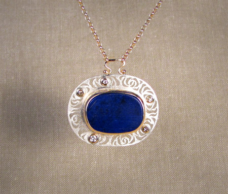 14K gold, sterling silver, diamond and lapis rose pendant