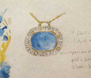 """watercolor and pencil rendering: 14K, silver, diamond, lapis pendant"
