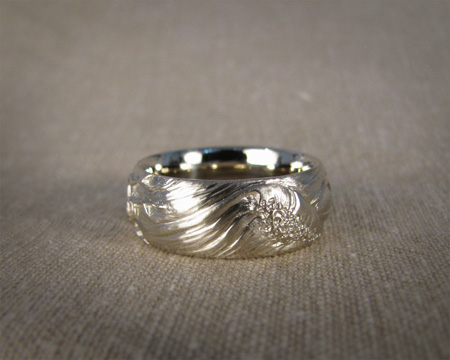 18K white gold hand-carved ocean & tree ring