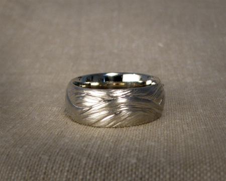 18K white gold hand-carved ocean & tree ring