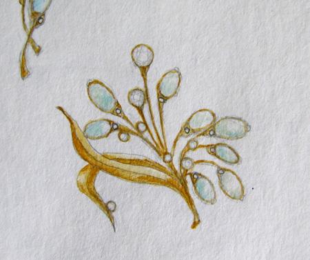 rendering of opal and diamond brooch