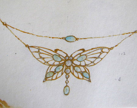 rendering of opal and diamond butterfly pendant
