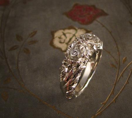14K white gold and diamond carved poppy ring
