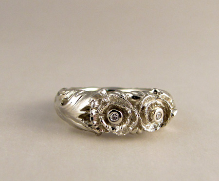 14K white gold and diamond carved poppy ring