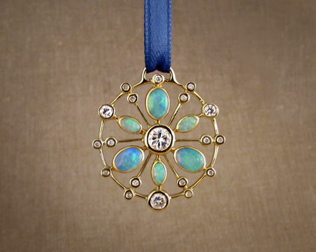 18K yellow gold opal and diamond mandala pendant