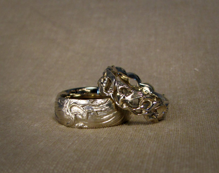 18K white gold hand carved mistletoe ring & ocean/tree ring