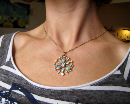 18K, diamond, and opal pendant