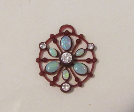 wax of opal and diamond butterfly pendant