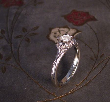 18K white gold mistletoe solitaire with old-cut diamond