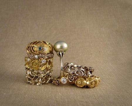 18K white and yellow gold, palladium, pearl, & diamond rings