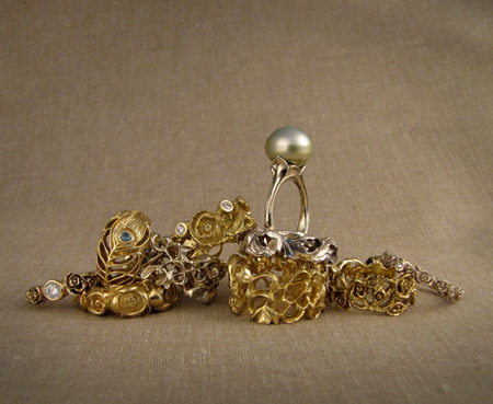 18K gold, palladium, pearl, and diamond rings