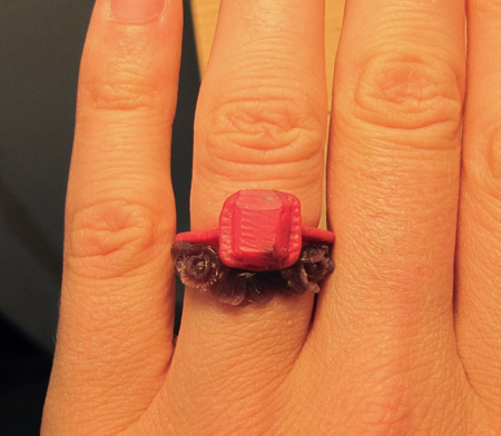 wax model of poppy ring
