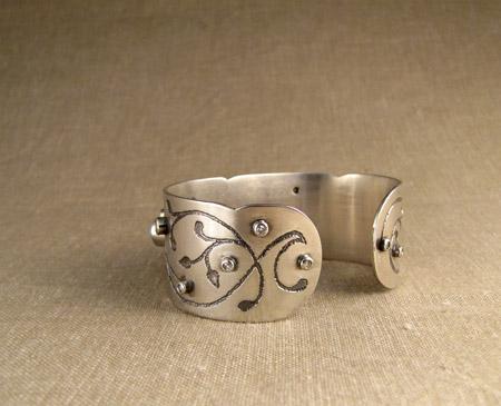lapis, turquoise, diamond, ss cuff bracelet