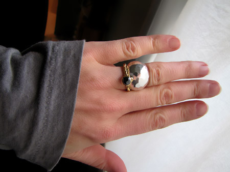 18K and black rose-cut diamond solitaire and faceted silver cigar band
