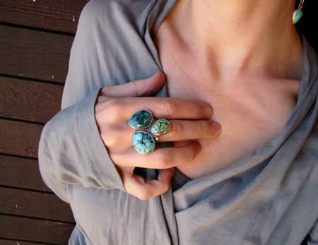 turquoise, diamond, sterling silver and 18K cocktail ring
