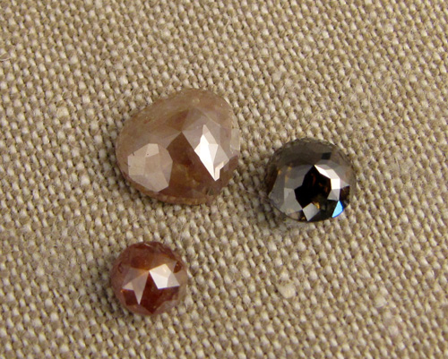 Rose-cut translucent diamonds