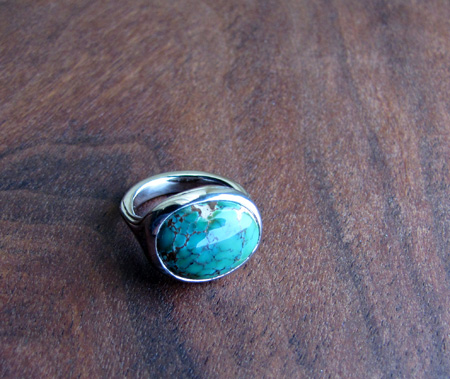 Palladium and Nevada Turquoise Ring This is an engagement wedding ring made