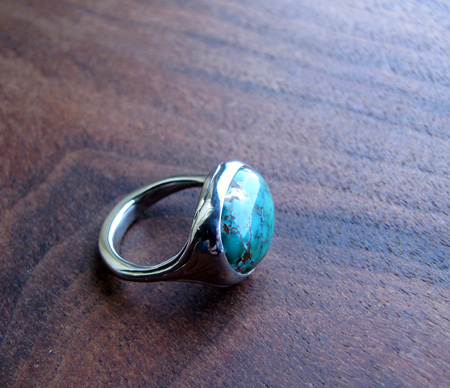 Palladium and turquoise ring