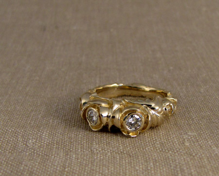 14K Carved Pond Lily ring with diamonds