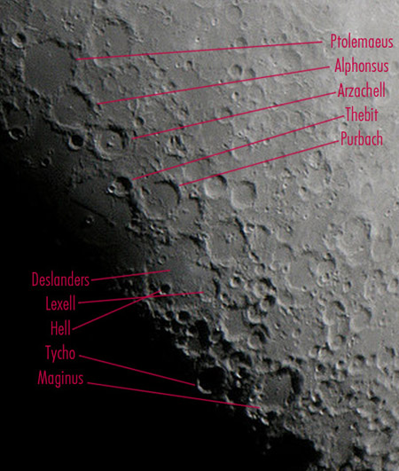 South Central Highlands Moon - Annotated
