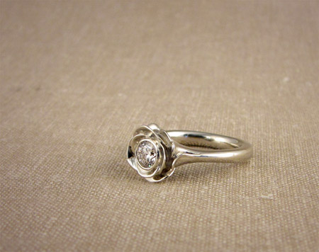 Carved blooming rose solitaire - diamond and 14K white gold