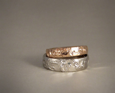 Lunar/Moon landscape rings in Pd and rose gold