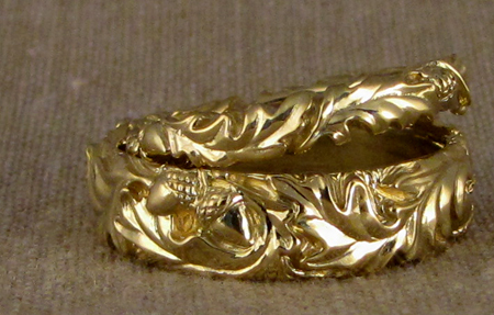 hand-carved oak leaf bands, 18K gold