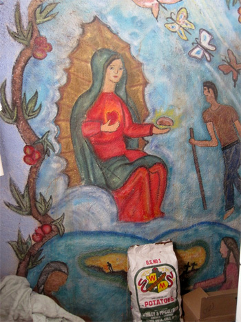 virgin of guadalupe with potatoes