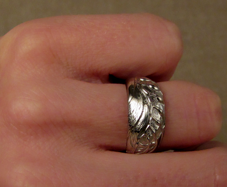 Hand-carved giant kelp ring; 14K white gold