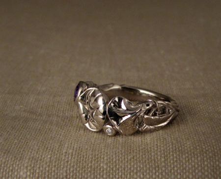 Morning glory ring, purple sapphire, diamond, 14K Palladium white gold