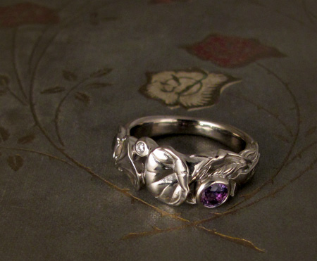 Morning glory ring, purple sapphire, diamond, 14K Palladium white gold