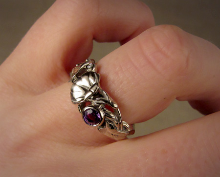 hand-carved morning glory ring, 14K Pd white gold, sapphire, diamond