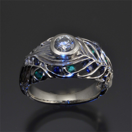 ring fullxfull engagenet engagement peacock rose halo diamond oval green rings listing gold sapphire eidelprecious il